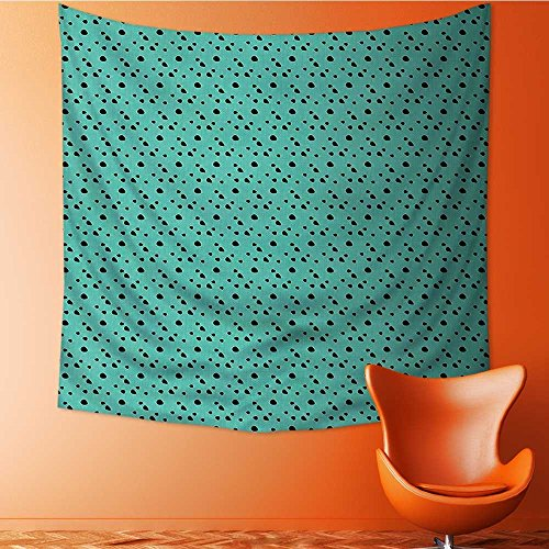 L-QN Decor Tapestry Wall Hanging by Print Dalmatian Dog Fur Inspired Polka Dots Circles Rounds Jade Green and Black Home Decoration Wall Tapestry Hanging 70W x 70L Inch
