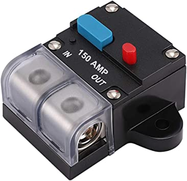 0-8 Gauge Trolling Motor Auto Car Stereo Audio Inline Fuse Block Holders Inverter for Automotive Rv Marine Boat OUHL 150A 200A Circuit Breaker Manual Reset 150A