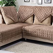 "OstepDecor Multi-size Pet Dog Couch Square Soft Quilted Furniture Protectors Covers for Sofa, Loveseat | ONE PIECE | Backing and Armrest Sold Separately | Coffee 28"" W x 28"" L (70 x 70cm)"