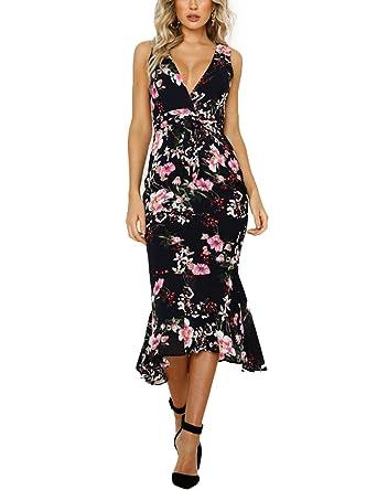 c864195c80f6 HOOYON Women's Dress Summer Floral Print V-Neck Sleeveless Elegant Mermaid  Midi Dress Black S
