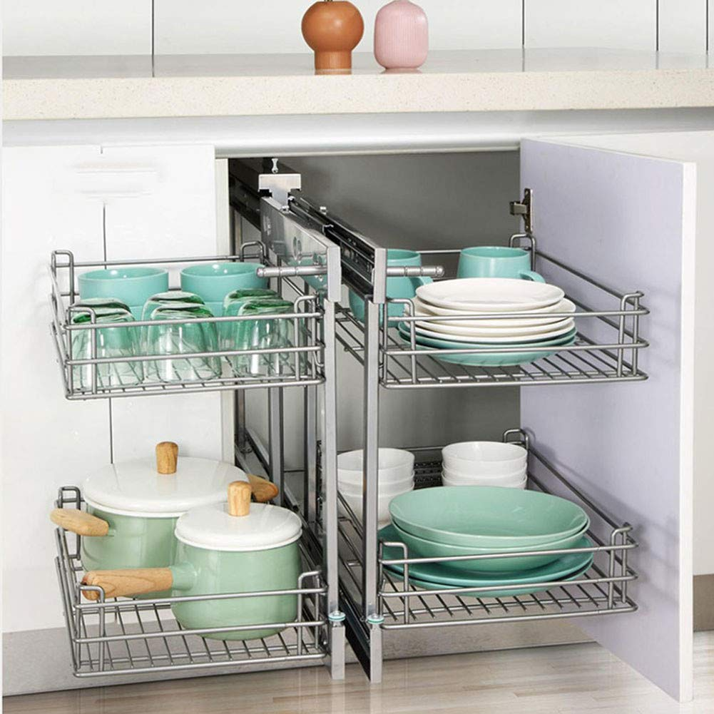 Amazon.com: Yajun Pull Out Kitchen Storage Baskets Slide Out ...