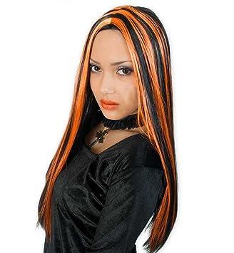 Carnaval 35060 peluca de bruja de colour negro/naranja pelo liso nuevo/embalaje original: Amazon.es: Juguetes y juegos