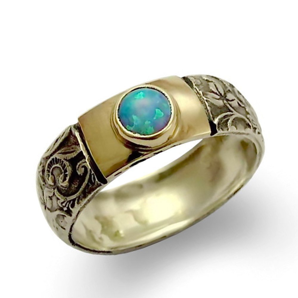 Filigree Opal silver ring, Sterling silver and 9K yellow gold with blue opal, two toned infinity band, Engagement Ring, Statement gift, Sale by ArtisanJewelry