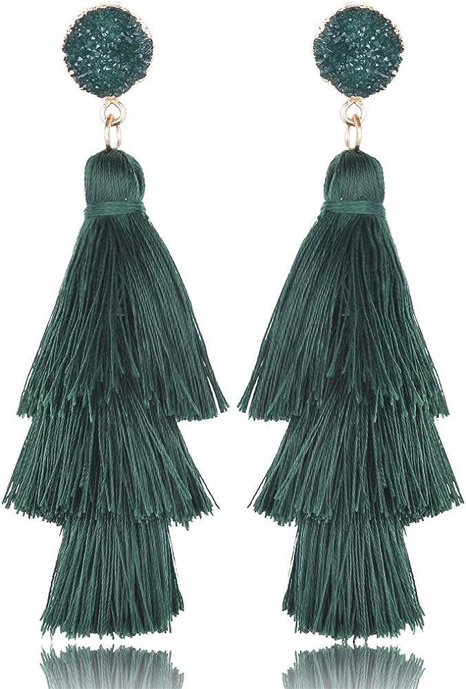 Pendientes largos de cristal de mujer pendientes de cristal pendientes boho pendientes de tres capas hechos a mano accesorios elegantes