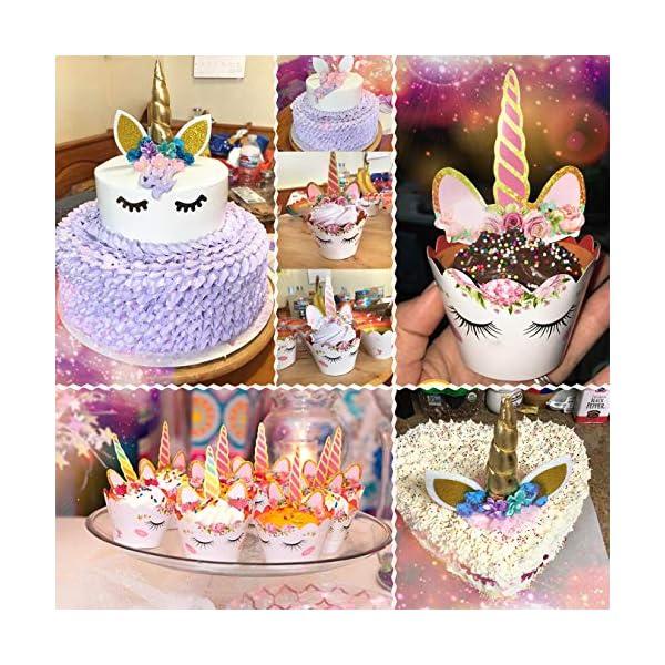 Unicorn Cake Topper with Eyelashes and Unicorn Cupcake Toppers & Wrappers Set - Unicorn Party Decorations Kit for… 5