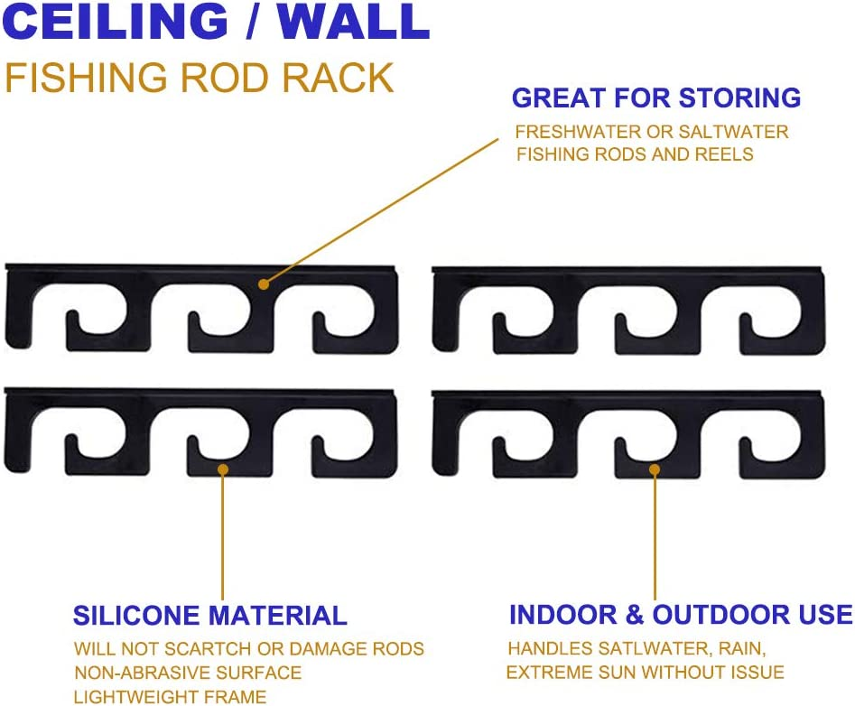 Ceiling Rod Rack Fishing Rod Rack Storage for Ceiling or Wall-Ultra Sturdy Strong Weatherproof Indoor and Outdoor Use, Holds 6 Rods: Home Improvement