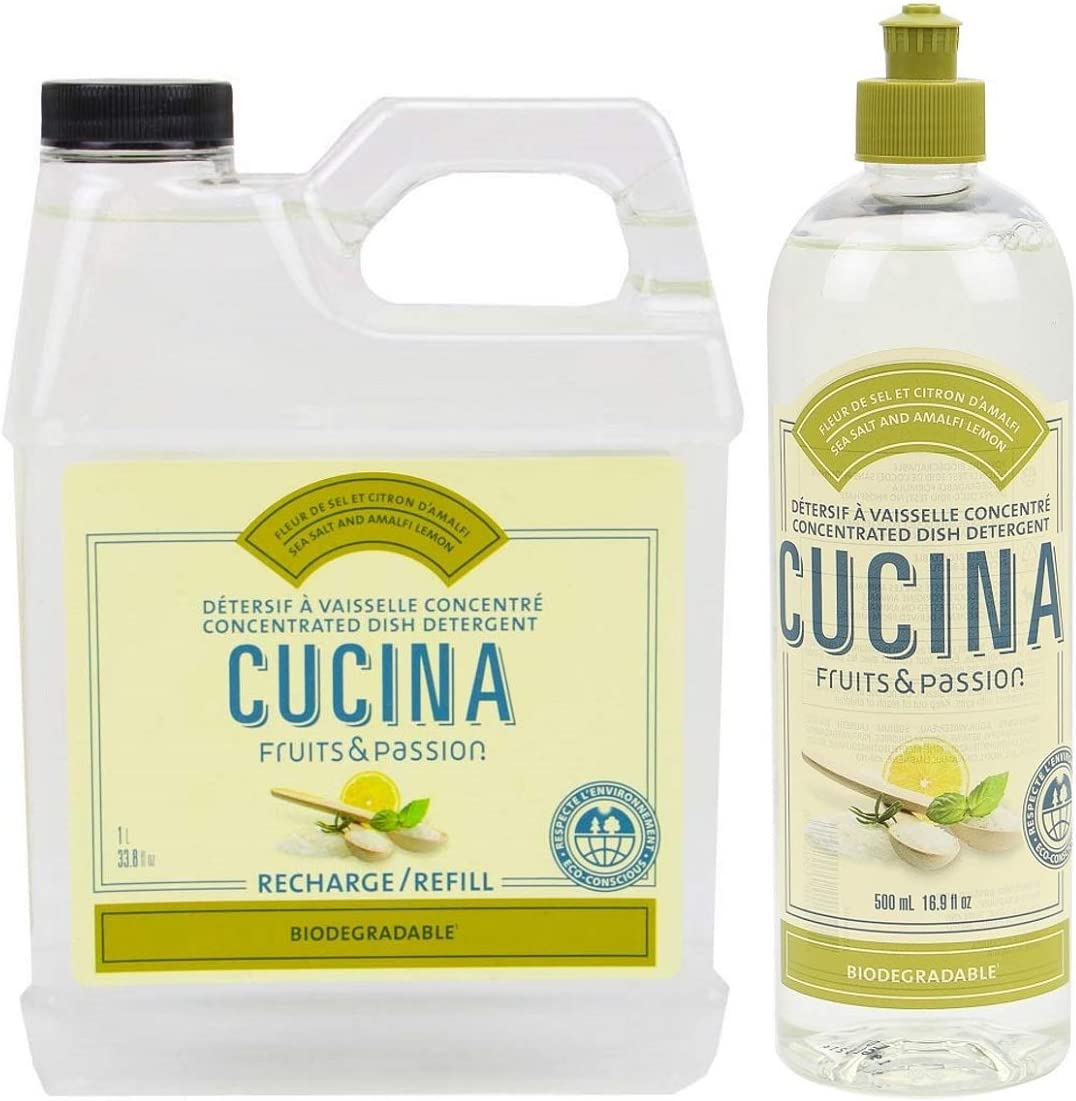 Fruits and Passion Cucina Daily Liquid Dish Detergent Refill Duo Set (Sea Salt and Amalfi Lemon)