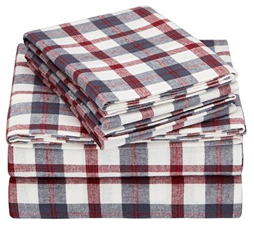 Pinzon 160 Gram Plaid Flannel Sheet Set - King, Red/Grey Plaid - PZ-PLFLAN-RG-KG