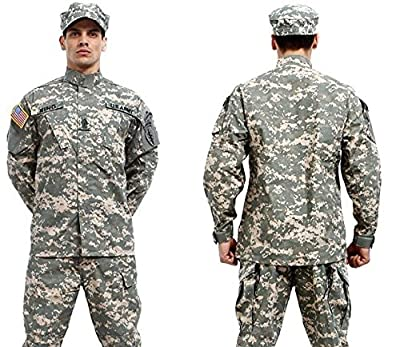 Camouflage Military Battle Dress Uniform Set, Coat + Pant Camo Paintball Hunting Clothing, Tactical Military Combat Cargo BDU Suit