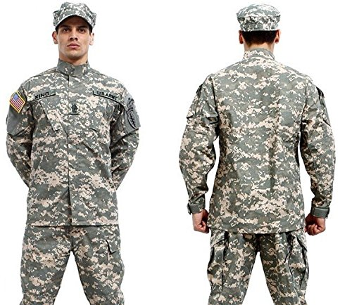 Camouflage Military Battle Dress Uniform Set, Coat + Pant Camo Paintball Hunting Clothing, Tactical Military Combat Cargo BDU Suit (ACU, ()