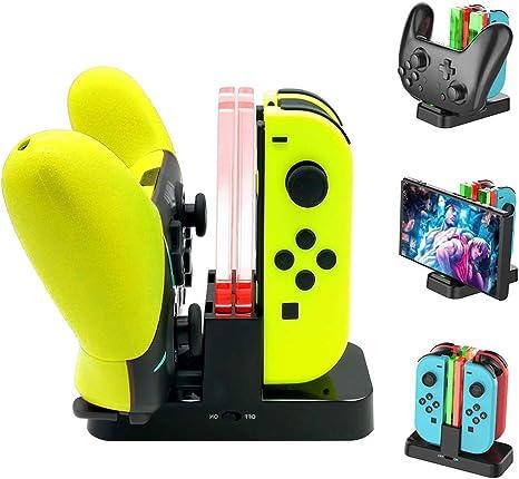 Estación de Carga para mandos Joy-Con y Pro de Nintendo Switch ...