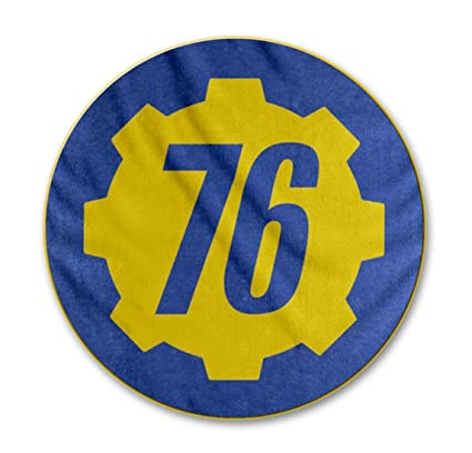 JUST FUNKY Official Fallout 76 Logo Design Round Fleece Blanket, Set of 1,  48 inches