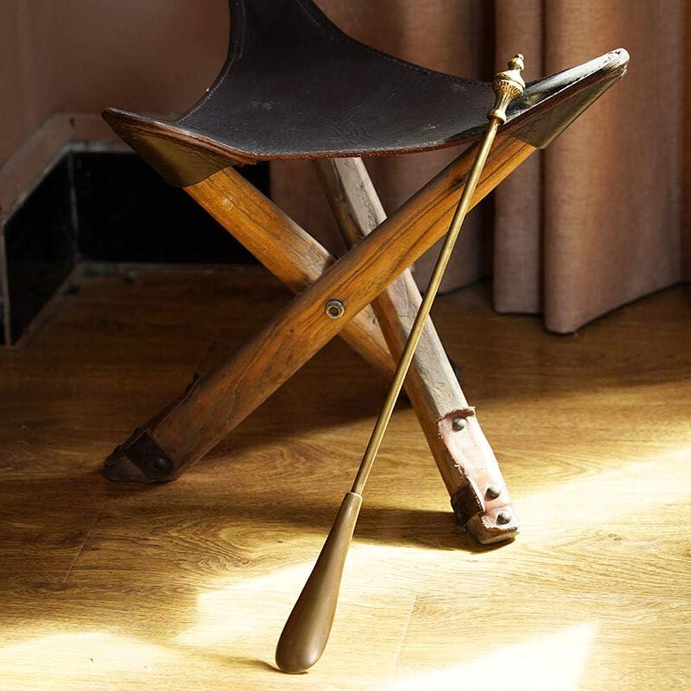 シューホーン メタルシューホーンは、エクストラロングメンズ・レディース・キッズ15/20インチ用の手作り靴ヘルパーハンドル シューホーンロングハンドルウッド (色 : Brass, Size : 52x4x3cm)