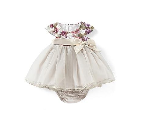 9d2082b3eef Amazon.com: Bonnie Jean Short Sleeveless Ivory Dress with Pink ...