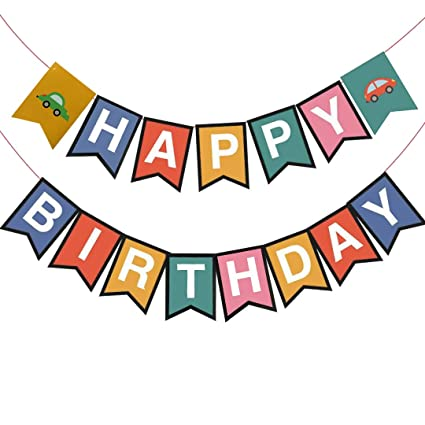 Car Happy Birthday Banner Cars Themed Decorative Colorful For Kids Party Baby Shower