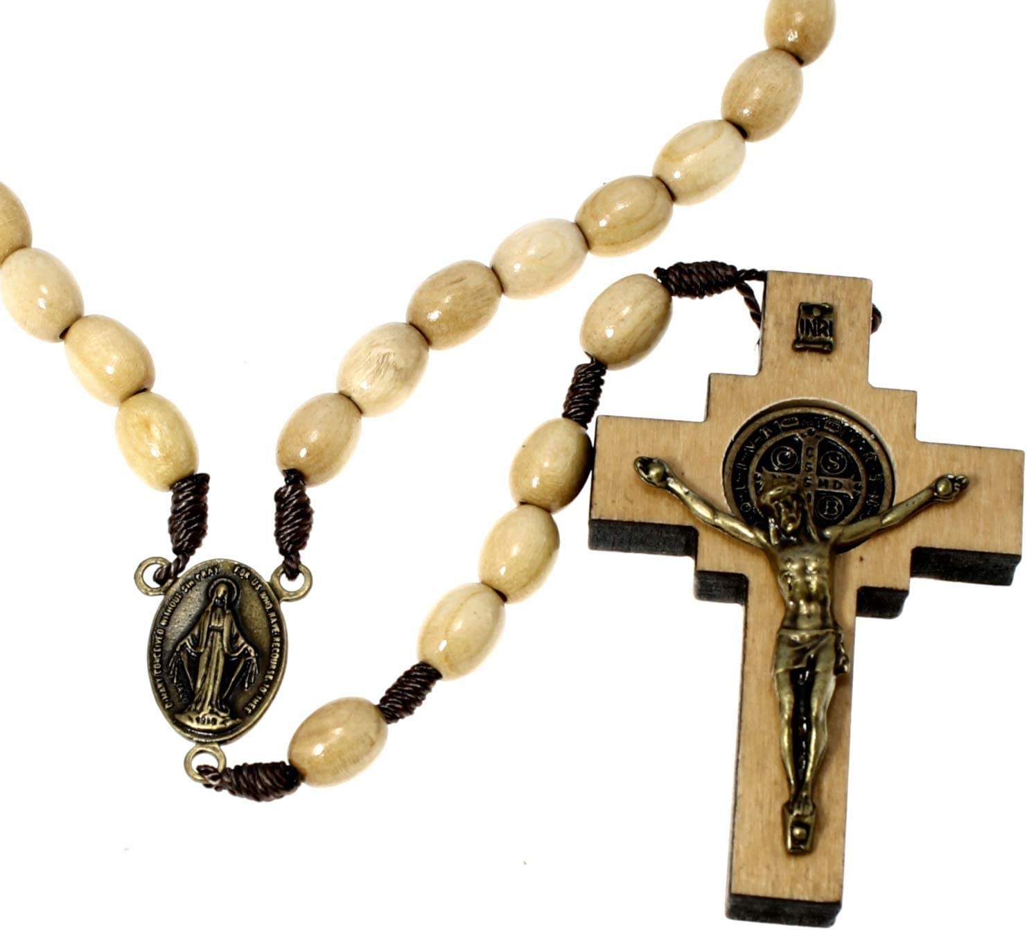 Alexander Castle White Wooden St Benedict Rosary Beads - Handmade Wooden and Metal Rosaries with Crucifix Come in a Rosary Pouch to Make a Great Catholic or Christian Gift