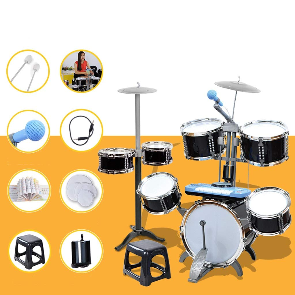 LIPENG-TOY Drums Children Beginner Boy Toys 1-3-6-10 Years Old Drums Large Drums DJ Piano (Color : Black, Style : B)