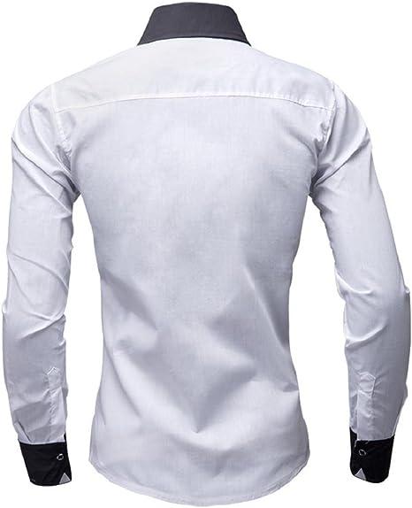 Camisa B/ásica Camisa Blusa Casual Manga Larga Informal con Cierre de Bot/ón Delgado Formal Ideal para Oficina//Trabajo//Entrevista