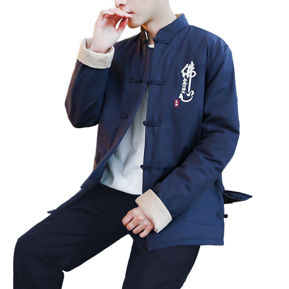 KIKIGOAL Mens Martial Arts Kung Fu Uniform Long Sleeve Tang Suit Winter Cotton Clothing (M, Navy blue)