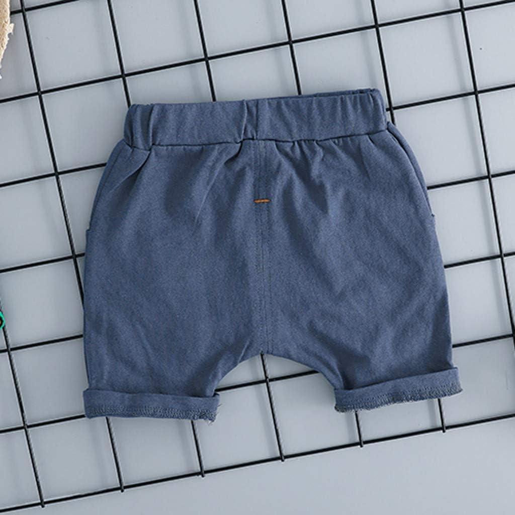 Casual Plaid Pocket Short Pants 2Pcs Set Dinlong Toddler Baby Kids Boys Short Sleeve Cartoon Cactus Letter Printed Tops