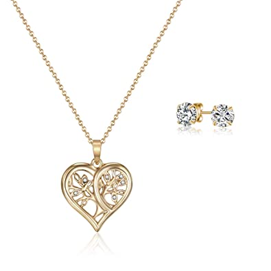 b028072c0 Amazon.com: MESTIGE Gold Tender Tree of Life Set with Swarovski Crystals,  Gifts Women Girls, Loveheart Love Set (Gold): Jewelry