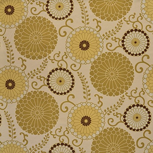 - Aloe Brown Green Yellow Contemporary Floral Modern Satin Upholstery Fabric by The Yard