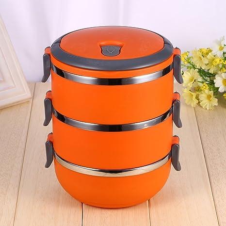 Isolierung THERMO-Lunchbox Edelstahl Lebensmittel Container tragbar Bento Box mit Griff 3/Schichten rose