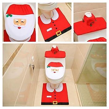 LJYASD Decoraciones Navidad Papá Noel Monigote Nieve Duende Alce Traje Cubierta Asiento Inodoro + Cubierta Tanque Agua Cubierta Toalla Papel + Alfombra Set ...