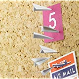 [Pack of 6] Paper Airplane Pushpin - Boiling Glacier Office Gadget Metal Pins & Tacks for Cork Board / Bulletin Board