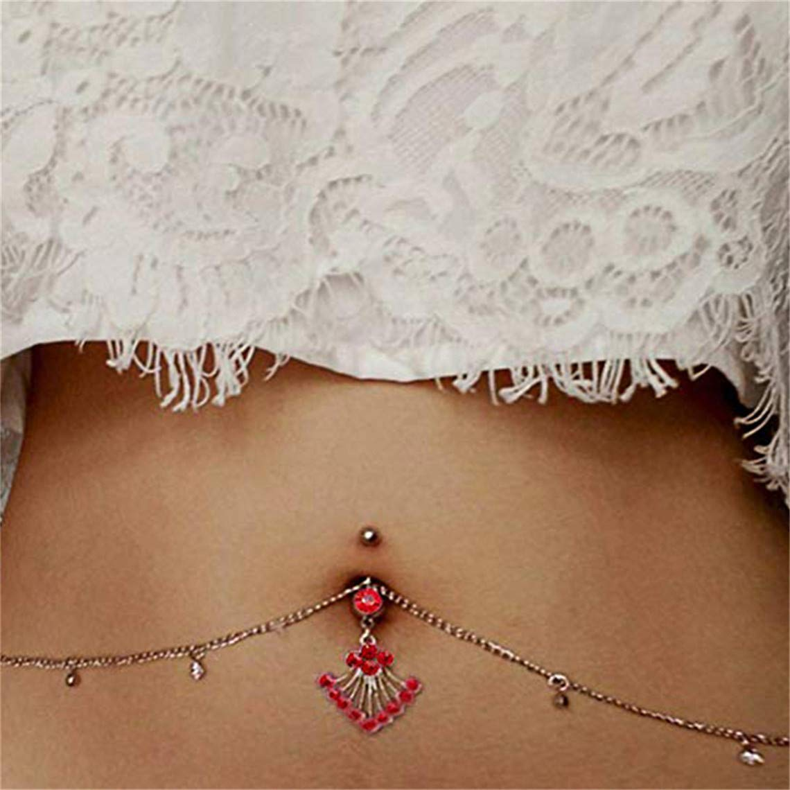 Rurah Women Rhinestone Tassel Dangle Belly Button Ring Body Piercing Jewelry, Navel Ring with Waist Chain for Dancing, Party, Beach,Red