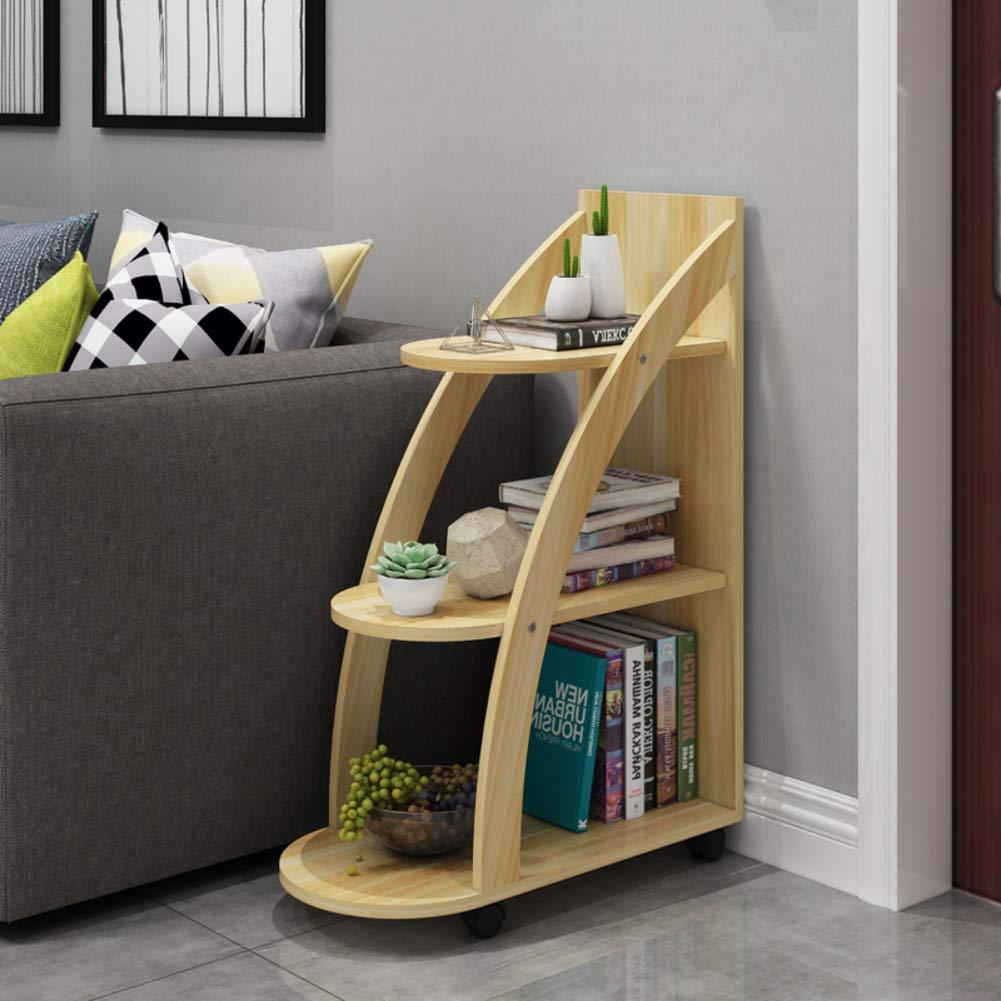 HM&DX Madera Librería con Ruedas de, 3-Tier Almacenaje Biblioteca Escalera VersÁtil Mesa de sofá Estante de exhibición para Salon Oficina Dormitorio ...