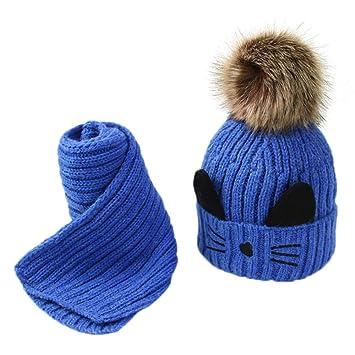 Malloom 2 Unids Toddler Baby Girls Boys Winter Warm Knitted Cat Hair Ball  Cap + Bufanda. Pasa el ratón por encima de la imagen para ampliarla 8d3bc98d76d2