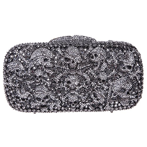 Fawziya Skull Purses And Handbags Party Clutches For Womens Evening Bags-Black