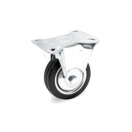 Rueda auxiliar fija 75mm Goma maciza Estructura metal Llanta robusta Montaje Bricolaje Mueble móvil