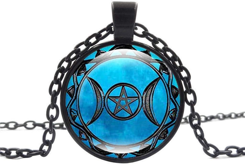 Lomsarsh Fino collar colgante diosa de la luna triple + 1 X bolsa - Collares con dijes románticos Mujeres lindas Joyas de piedras preciosas Regalos Accesorios Decoración Conjunto de joyas