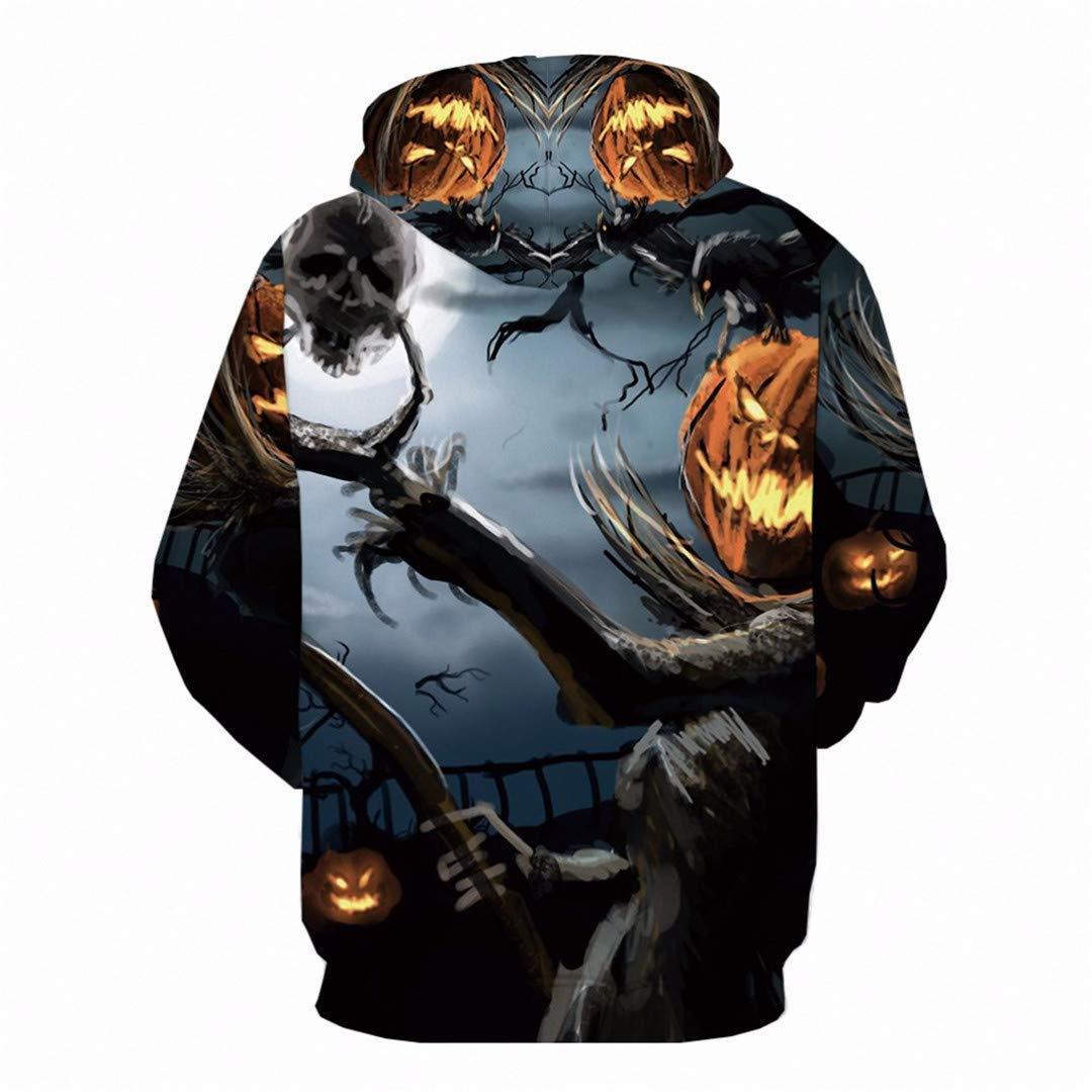 Men Women Casual Skull Cool 3D Print Hoodie Pumpkin Party Print Sweatshirt Hood Autumn Winter Outdoor Sport Outwear Tops 3X by navely (Image #2)