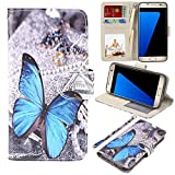 MagicSky S7 edge Case, Samsung Galaxy S7 edge Wallet Case, Premium PU Leather Wristlet Flip Case Cover with Card Slots & Stand for Samsung Galaxy S7 edge, Blue Butterfly