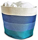 OrganizerLogic Storage Baskets - Large 15'x15'x13' Cotton Rope Storage Bins for Organizing Toys, Baby, Kids, Laundry - Natural Woven Basket (Blue and Green Stripes)