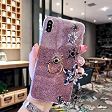 Cfrau Pink Glitter Silicone Case for Huawei P30,Luxury Bling Hybrid Bumper Soft Rubber Cute 360 Ring Stand Holder Crystal Case with Black Stylus for Girls Women with Pentagram Bracelet