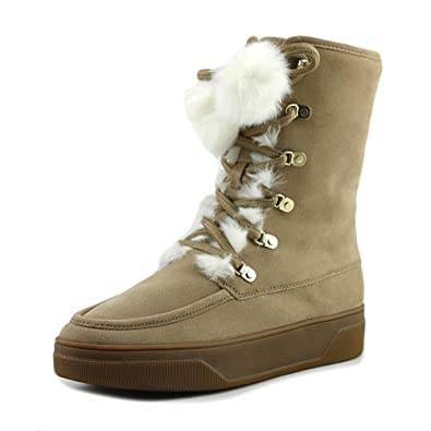 Womens Juno Lace Up Faux Fur Closed Dark Khaki Size 10.0