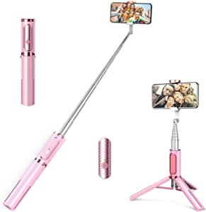 AUSELECT Selfie Stick Tripod, Lightweight Aluminum All in One Extendable Phone Tripod Selfie Stick Bluetooth with Remote for iPhone 11/Xs MAX/XR/XS/X/8/8 Plus/7/7 Plus/6s, Galaxy S10/S9/S9 Plus, More (Pink)