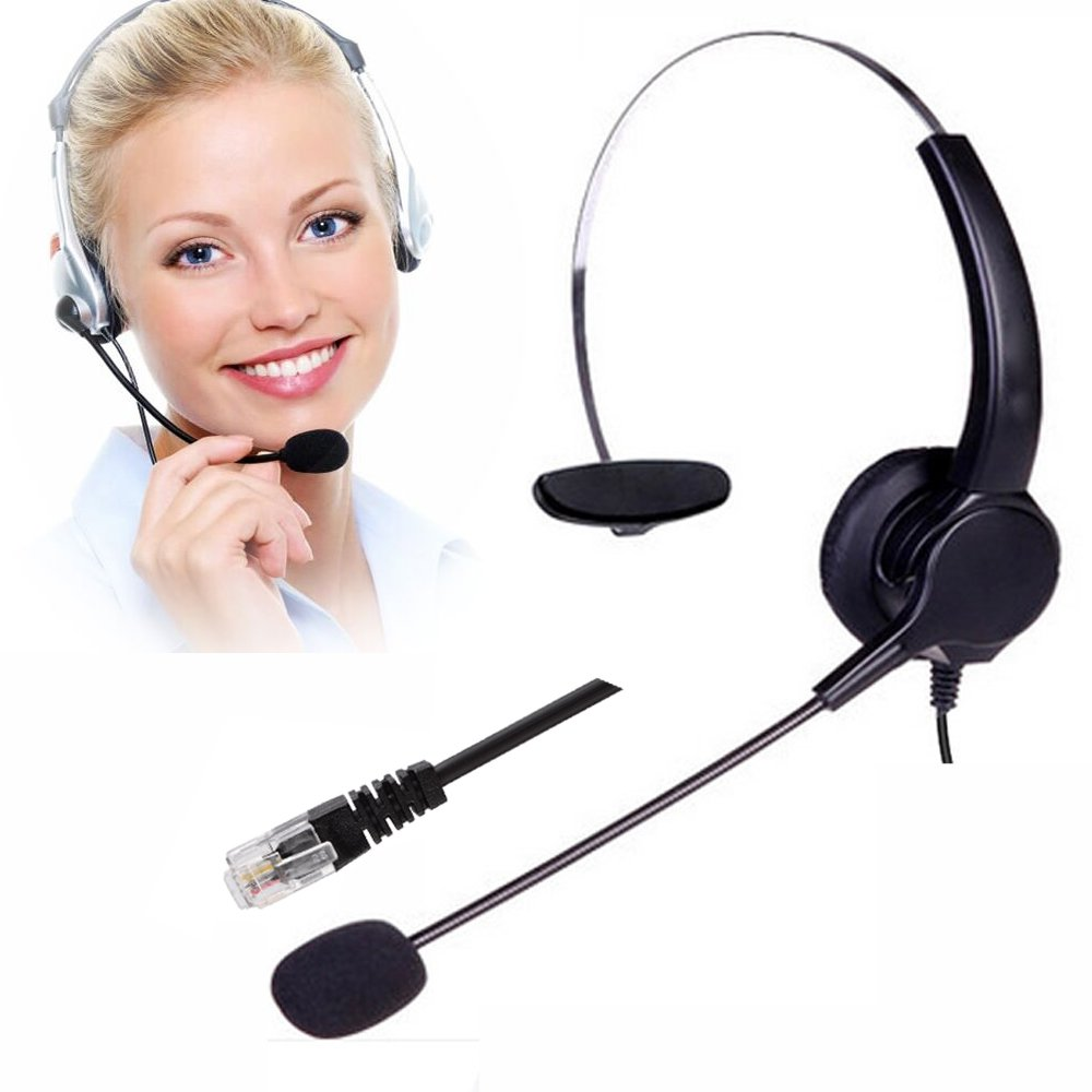 Telephone Headset, TelPal Noise Cancelling Headset Mic Call Center, Desk Telephone, Perfect Phone Sales, Insurance, Hospitals, Telecom Operators - [Monaural]