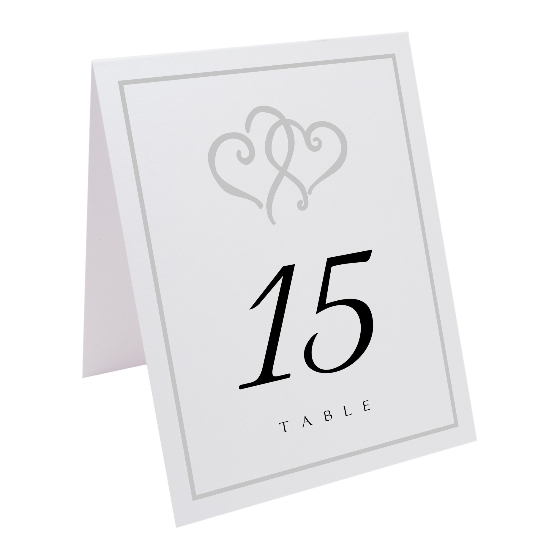 Documents and Designs Linked Hearts and Border Table Numbers (Select Color/Quantity), White, Silver, 1-70