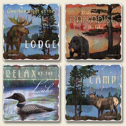 A Night at the Lodge Moose Loon Lake Set 4 Stone Coasters