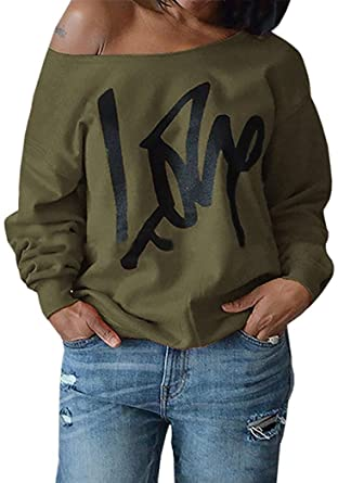 6c51f40f362de Womens Off Shoulder Pullover Sweatshirt Love Letter Printed Small Army Green
