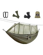 Outdoor Hängematten mit Moskitonetz,Lhedon Tragbare Camping Hängematte Fallschirm Hängematte mit Baumgurte und Solide Karabiner,Perfekte Reise Hängematte für Camping,Wandern,Dschungel,Strand