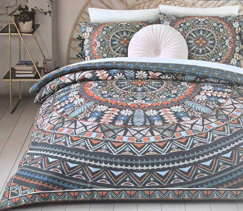 Aphorism Bedding 2 Piece Twin/Twin XL Size Microfiber Duvet Comforter Cover Set Geometric Boho Bohemian Floral Geo Round Medallions Tapestry Pattern in Blue Orange Brown Pink - Sussex Medallion ()