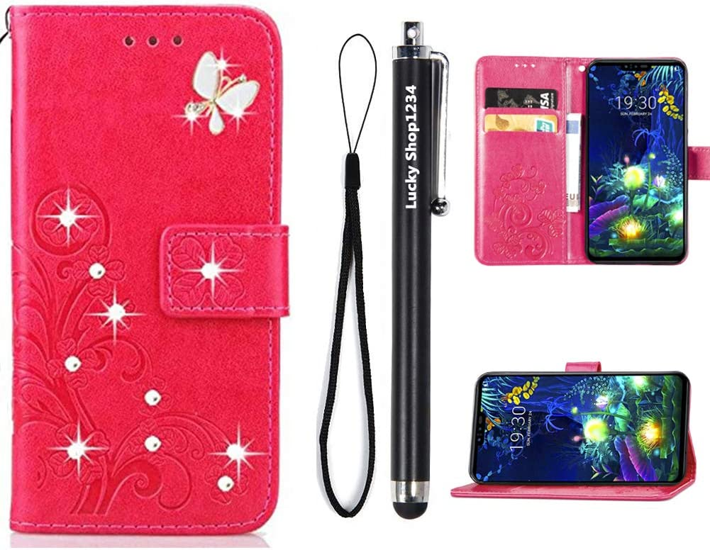 LG Stylo 5 Wallet Case, Fashion Handmade 3D Bling Diamond Butterfly Flowers PU Leather Stand Flip Folio Phone Cover with Stylus Pen & Screen Protector & Card Holder & Hand Strap for LG Stylo 5