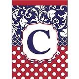 Cheap Monogram C Red White Polka Dot and Filigree Blue 18 x 13 Rectangular Applique Small Garden Flag