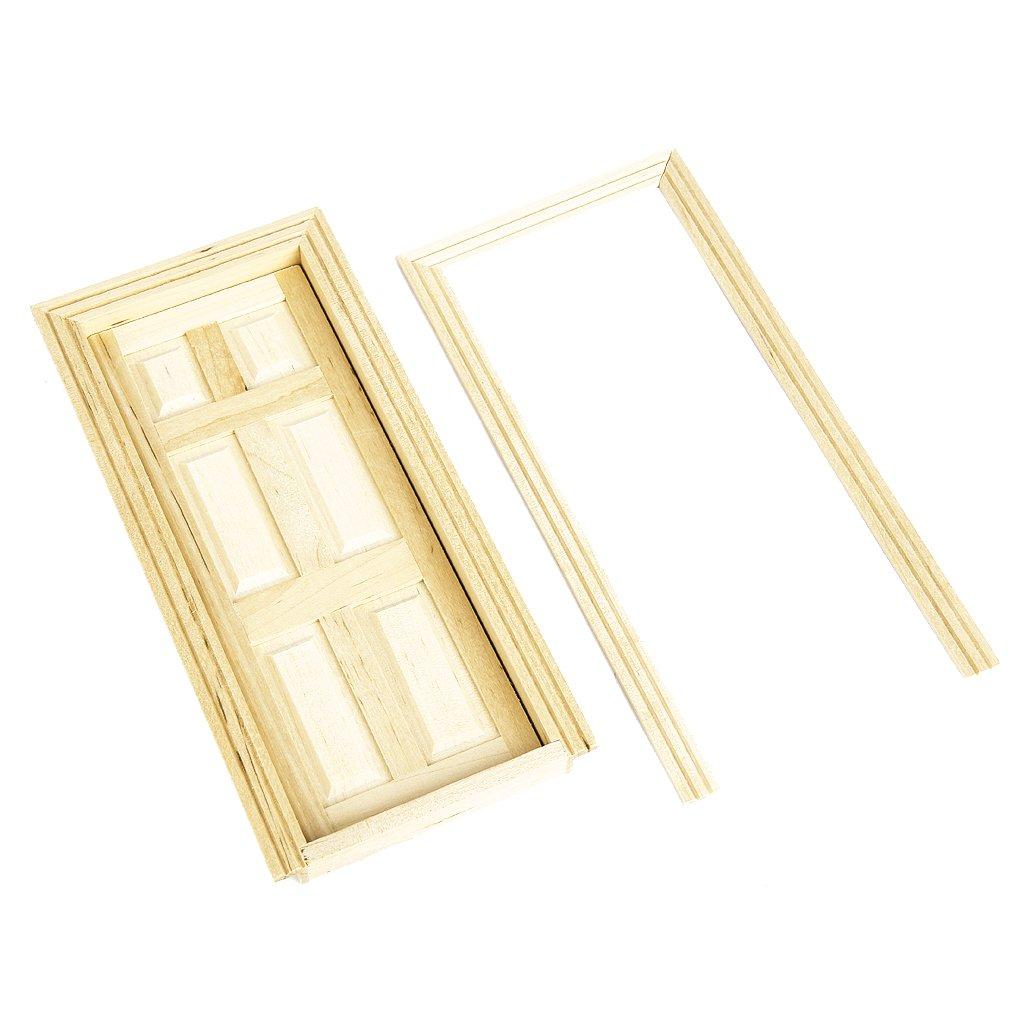 1/12 Dollhouse Miniature 6-Panel Interior Wooden Door DIY Accessory MagiDeal